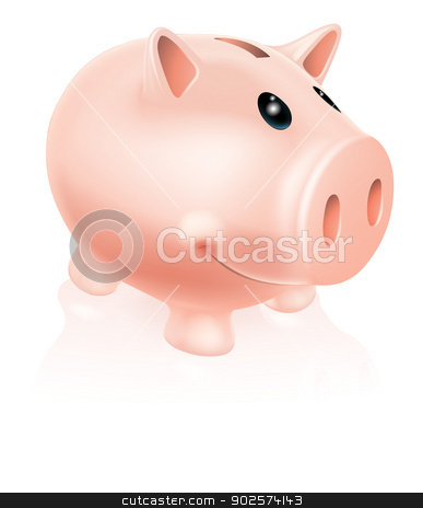 Piggy Bank Character stock vector clipart, A Drawing of a smiling cartoon piggy bank character by Christos Georghiou