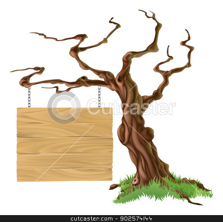 Sign Tree Illustration stock vector clipart, Illustration of a bare tree with a wooden sign on a chain hanging from it by Christos Georghiou