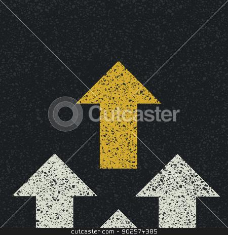 Arrows on asphalt road. Teamwork concept. Vector stock vector clipart, Arrows on asphalt road. Teamwork concept. Vector by pashabo
