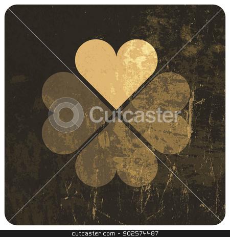Grunge lucky clover leaf. Vector stock vector clipart, Grunge lucky clover leaf. Vector by pashabo
