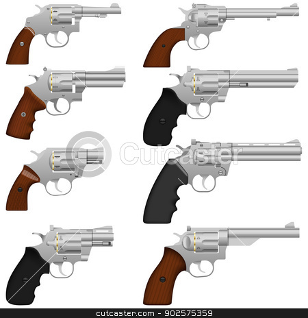 Revolver stock vector clipart, Layered vector illustration of collected Revolver. by Liu Yin