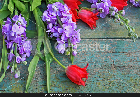 Beautiful wooden floral background stock photo, Beautiful wooden floral background with red tulips and  by Juliet Photography