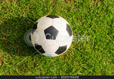 soccer ball on green grass  stock photo, soccer ball on green grass with its shadow by Wisut Boonyasopit