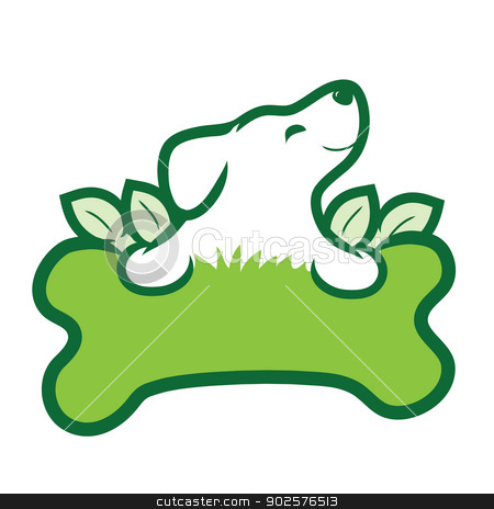 Organic Dog stock vector clipart, A cute puppy with a big green bone, grass and leaves by Maria Bell