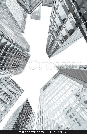Skyscrapers and office buildings perspective stock photo, Skyscrapers and office buildings perspective by genialbaron