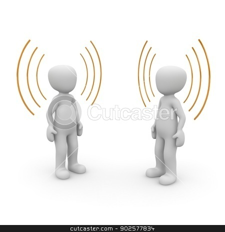 sound stock photo, Two characters have heard something unknown but interesting. by visualtektur