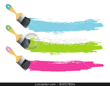 Paint brushes with color splashes stock vector clipart, Vector illustration of Paint brushes with color splashes by SonneOn