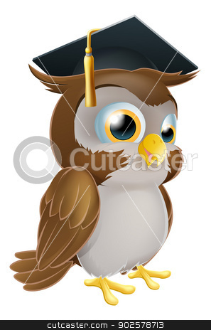 Graduate Owl stock vector clipart, Illustration of a cute cartoon wise owl wearing a mortarboard convocation or graduation hat by Christos Georghiou