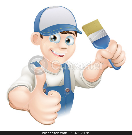 Cartoon painter decorator stock vector clipart, Illustration of a cartoon painter or decorator holding a paintbrush and giving a thumbs up by Christos Georghiou
