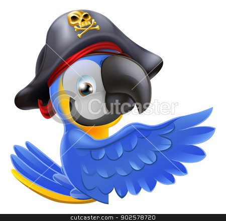 Pointing Pirate Parrot  stock vector clipart, An illustration of a pirate parrot mascot leaning round a sign board and pointing with its wing or showing something by Christos Georghiou