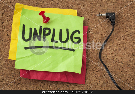 unplug - information overload concept stock photo, unplug  - lifestyle or information overload concept  - handwriting on colorful sticky notes by Marek Uliasz