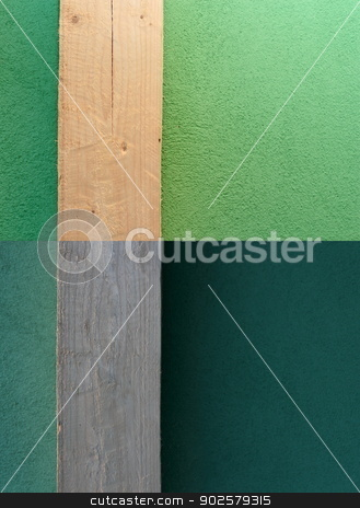 abstract view of textured wall stock photo, abstract view of a textured wall with wooden pillar on it - two different lighting situations by coroiu octavian