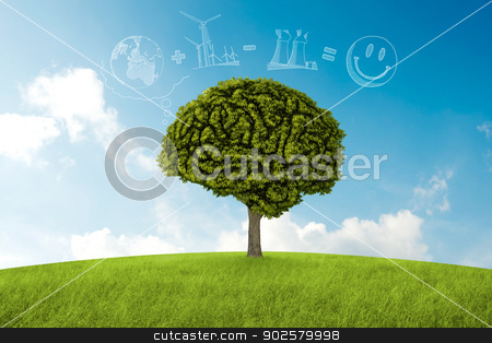 Natural consideration stock photo, Tree in the shape of brain thinks to environmental solution by Giordano Aita