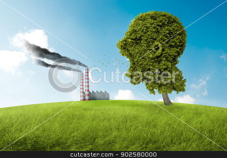 The scream of the nature stock photo, Tree in the shape of head screams to the pollution by Giordano Aita