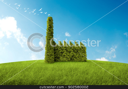 Clean air stock photo, industrial building with the form of a bush for the environmental topic by Giordano Aita