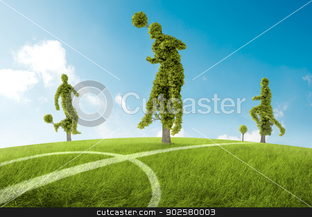 Trees in the shape of soccers player stock photo, Trees in the shape of soccers player by Giordano Aita