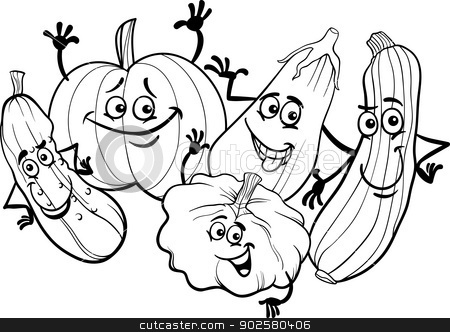 cucurbit vegetables for coloring book stock vector clipart, Black and White Cartoon Illustration of Funny Cucurbits Vegetables Food Characters Group for Coloring Book by Igor Zakowski