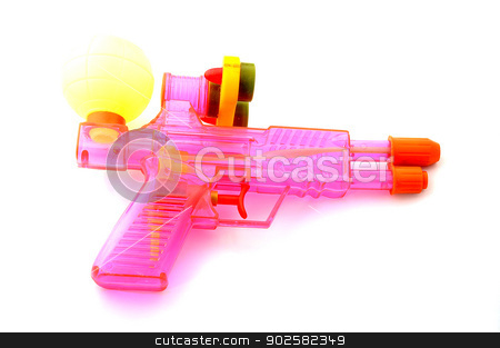 colorful watergun stock photo, colorful watergun isolate on white background by Lekchangply