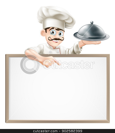 Chef pointing at sign stock vector clipart, A cartoon chef character holding a silver platter or cloche pointing at sign by Christos Georghiou