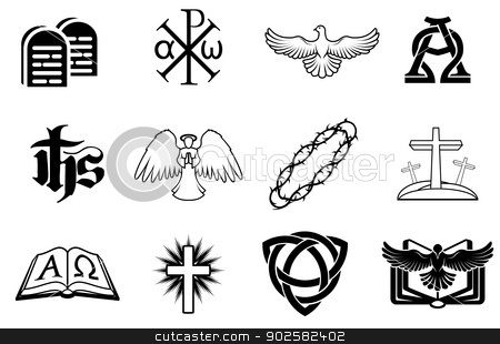 Set of Christian icons stock vector clipart, A set of Christian icons including angel, dove, alpha omega, Chi Ro and many more by Christos Georghiou