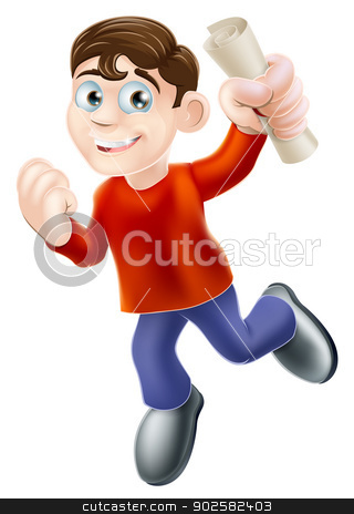 Happy man with scroll stock vector clipart, Education concept of a happy smiling man jumping in the air holding a scroll diploma or other pass certificate with hand in a fist  by Christos Georghiou