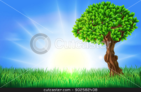 Sunny Field Tree Background stock vector clipart, A background illustration of a field of bright green grass on s a spring or summers day with a sun rise or sun set and beautiful green tree. by Christos Georghiou
