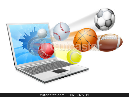 Sports laptop app concept stock vector clipart, Sports laptop app concept, an illustration of a laptop computer with sports balls flying out of the screen by Christos Georghiou