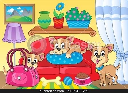 Cute dog theme image 2 stock vector clipart, Cute dog theme image 2 - eps10 vector illustration. by Klara Viskova