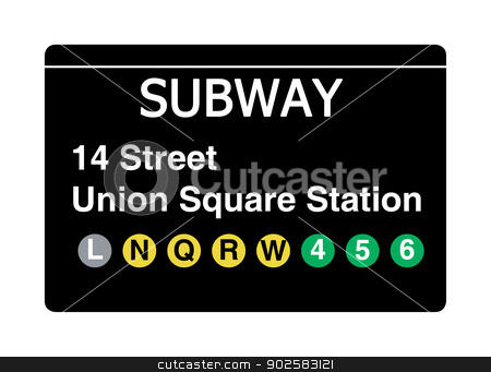 14 Street Union Square Station subway sign stock photo, 14 Street Union Square Station subway sign isolated on white, New York city, U.S.A. by Martin Crowdy