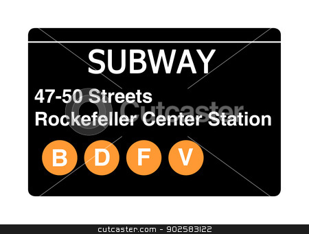 47-50 streets Rockerfeller Center Station subway sign stock photo, 47-50 streets Rockefeller Center Station subway sign isolated on white, New York city, U.S.A. by Martin Crowdy