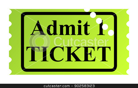 Admit one ticket stock photo, Admit one ticket isolated on white background. by Martin Crowdy