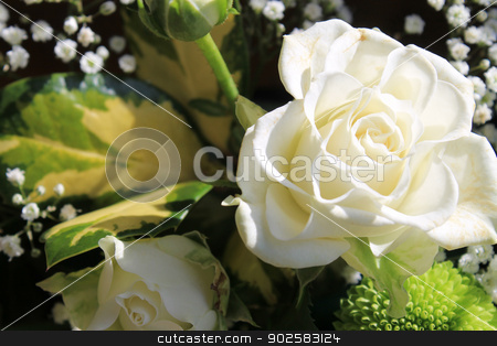 Beautiful white flower bouquet stock photo, Closeup of beautiful white bridal flower bouquet by Martin Crowdy