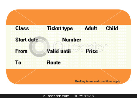 Blank travel ticket stock photo, Blank travel ticket with copy space isolated on white background. by Martin Crowdy