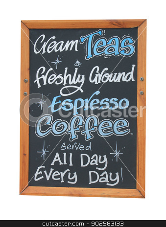 Cafe cream teas sign stock photo, Cream teas and coffee sign isolated on white background. by Martin Crowdy