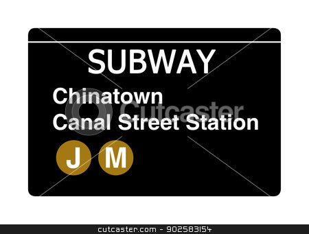 Chinatown Canal Street subway sign stock photo, Chinatown Canal Street subway sign isolated on white, New York city, U.S.A. by Martin Crowdy