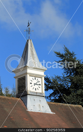 Clock tower and weather vane stock photo, Clock tower and weather vane on old building, England. by Martin Crowdy