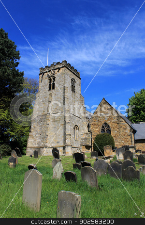 English church and cemetery stock photo, English church and cemetery, Scalby village, England. by Martin Crowdy
