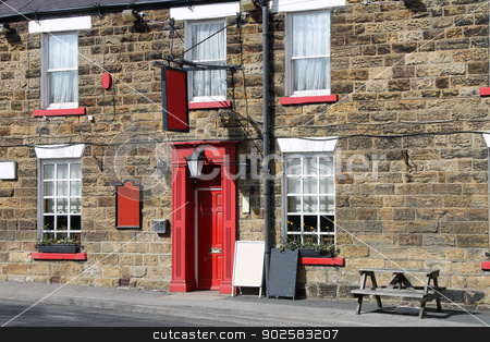 English country pub stock photo, Exterior of traditional English pub in rural countryside. by Martin Crowdy