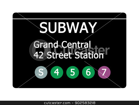 Grand Central Station subway sign stock photo, Grand Central 42 Street Station sign isolated on white, New York city, U.S.A. by Martin Crowdy