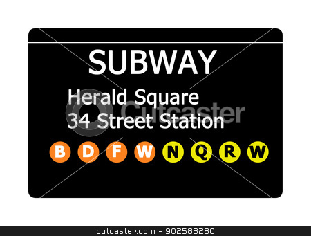 Herald Square subway sign stock photo, Herald Square 34 Street Station sign isolated on white, New York city, U.S.A. by Martin Crowdy