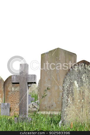 Old cemetery graves stock photo, Old cemetery graves isolated on white background with copy space. by Martin Crowdy