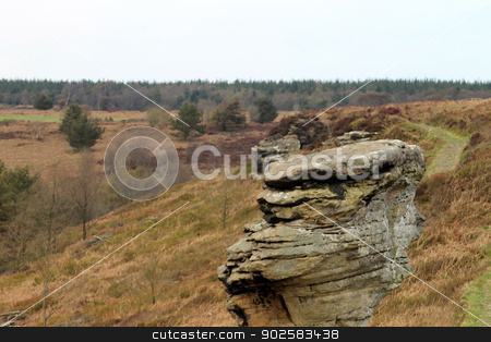 Rock formations in moors stock photo, Scenic view of eroded stack rock formation in Moors, North Yorkshire, England. by Martin Crowdy