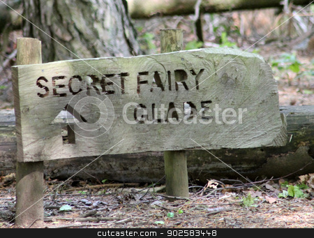 Secret fairy glade sign stock photo, Secret fairy glade sign in wood or forest by Martin Crowdy