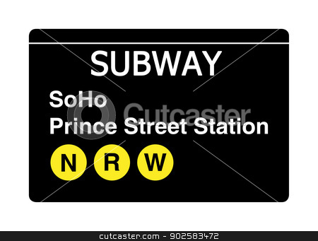 Soho Prince Street Station subway sign stock photo, Soho Prince Street Station subway sign isolated on white, New York city, U.S.A. by Martin Crowdy