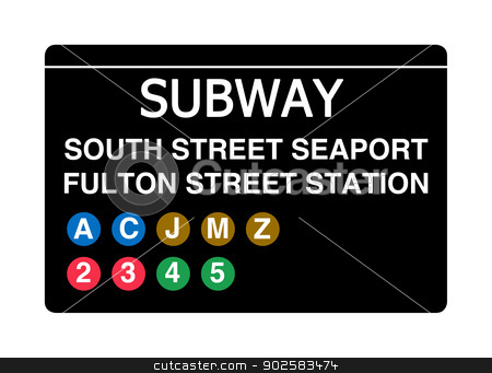 South Street Seaport Fulton Street Station subway sign stock photo, South Street Seaport Fulton Street Station subway sign isolated on white, New York city, U.S.A. by Martin Crowdy