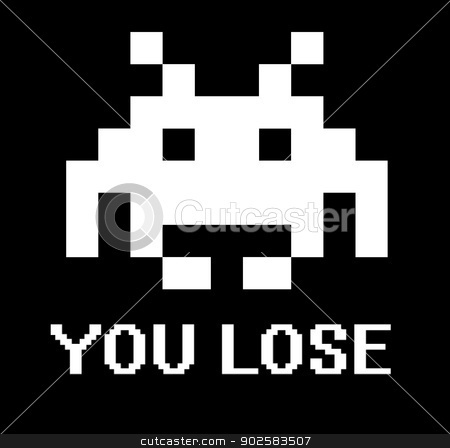 You lose space invader sign stock photo, You lose space invader sign with black background. by Martin Crowdy