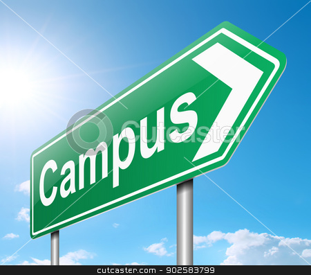 Campus sign. stock photo, Illustration depicting a sign directing to Campus. by Samantha Craddock