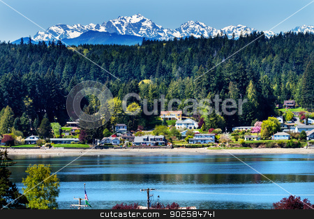 Poulsbo Bainbridge Island Puget Sound Snow Mountains Olympic Nat stock photo, Poulsbo Bainbridge Island Puget Sound Snow Mountains Olympic National Park Washington State Pacific Northwest by William Perry