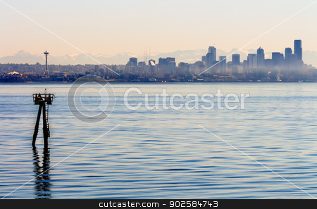 Channel Marker Seattle Skyline Puget Sound Cascade Mountains Was stock photo, Channel Marker Seattle Skyline Puget Sound Cascade Mountains Washington State Pacific Northwest by William Perry