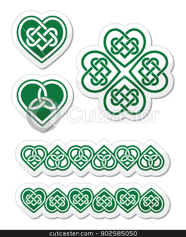 Celtic green heart knot - vector symbols set stock vector clipart, Embroidery heart and clover traditional patterns isolated on white by Agnieszka Murphy